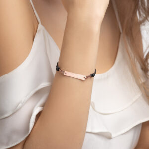 PLUR – Engraved Silver Bar String Bracelet - 18K Rose Gold coating
