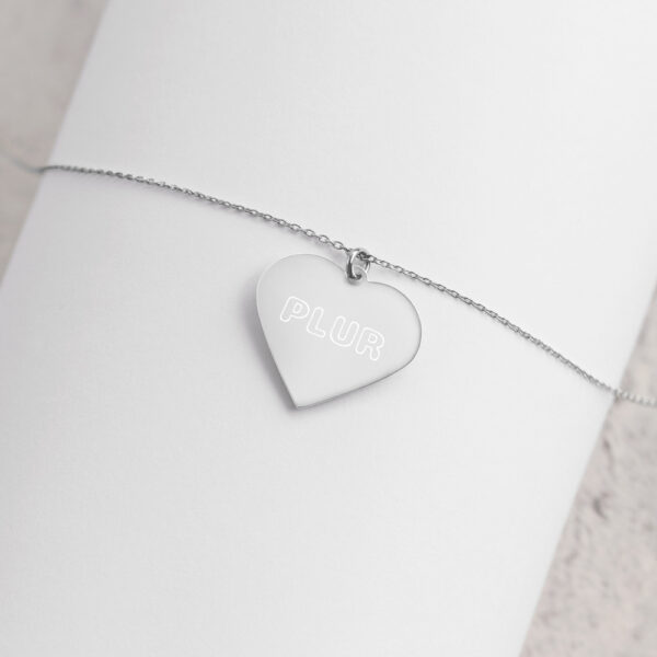 PLUR - Engraved Silver Heart Necklace - White Rhodium coating