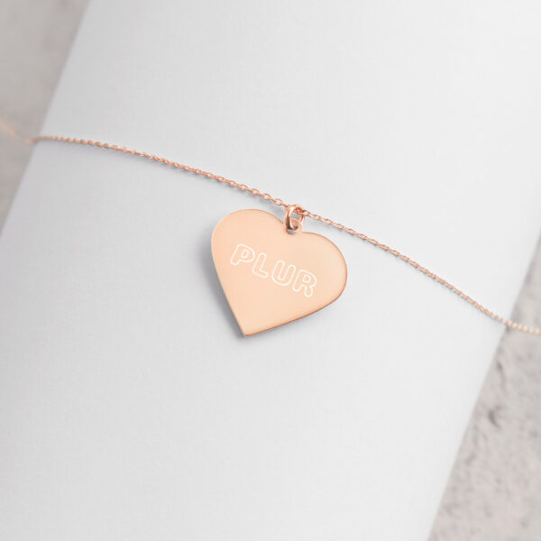 PLUR - Engraved Silver Heart Necklace - 18K Rose Gold coating