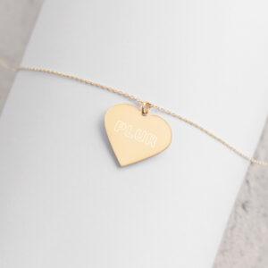 PLUR - Engraved Silver Heart Necklace - 24K Gold coating