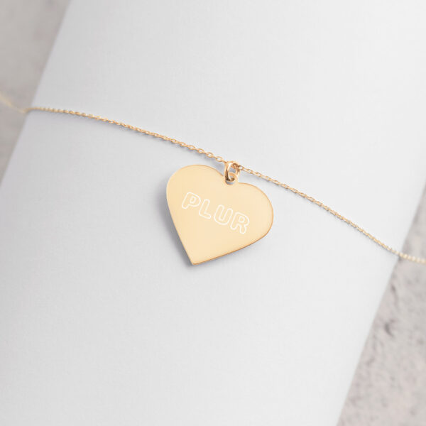PLUR - Engraved Silver Heart Necklace - 24K Gold coating